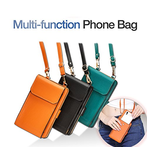 iPhone 7plus Wallet Case iPhone 6 Case Cell Phone Crossbody Shoulder Purse Bag Small Messenger Pouch Bags with Card Holder Slot for iPhone 8 8plus 7 7plus 6S 6 6plus (Orange) by SHINEFUTURE (Image #6)
