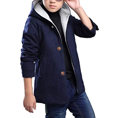 762735cf00f5 Amazon.com  Qinni-shop Boys Kids Wool Coat Double Breasted Pea Coat ...