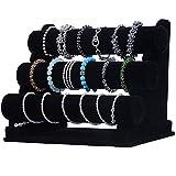 Wuligirl 3 Tier T-Bar Jewelry Display Stand Necklace Bangle Bracelet Organizer Watch Display Velvet, Black / Ice Grey