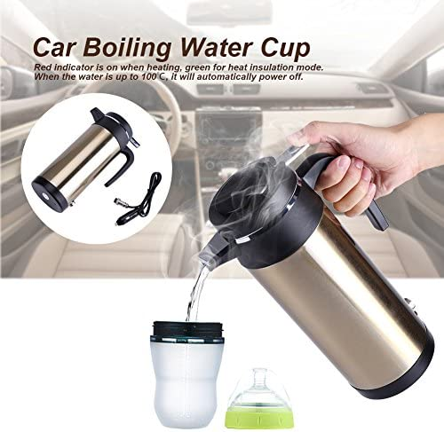 Stainless Kettle,800mL 12V Portable in-car Stainless Steel Electric Heating Cup Boiling Water Bettle Travel Use