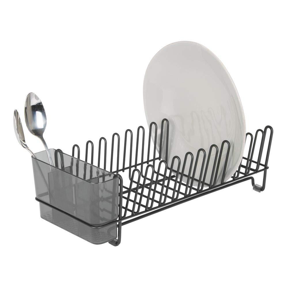 satin/é//transparent mDesign /égouttoir /à vaisselle pour la cuisine egouttoir vaisselle inox pour assiettes tasses verres etc avec un range couverts en acier