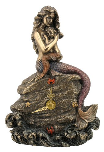 Mermaid Clock - Mother and Baby Sitting on Rock Statue Na...
