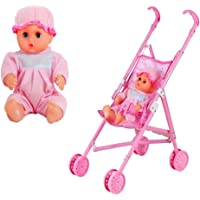 Baby Doll Stroller Foldable Pram with Sturdy Handle,Plastic Doll Collection Toy Baby Girl Play House Doll Children's Gift18.11x9.45x21.65In(with Doll)