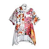 CATALOG CLASSICS Women's Tunic Top & Scarf Set - Dreamy Garden Short Sleeve Blouse High Low Hem - 2X -Size 20-22