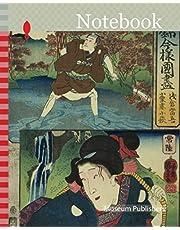 Notebook: Shimosa Province: Asakura Togo and Hitachi Province: Oguri's Wife Kohagi, from the series Modern Scenes of the Provinces in Edo Brocades (Edo nishiki imayo kuni zukushi), 1852, Utagawa Kuniyoshi, Japanese, 1797-1861, Japan, Color woodblock print