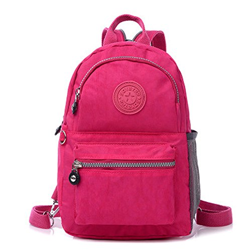 KARRESLY Mini Travel Waterproof Daypack Nylon Cute Junior School Backpack(Red)