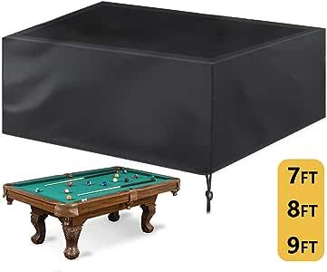 Kasla Cubierta de Mesa de Billar/Billar de 7/8/9 pies de protección Completa, Tela Oxford Resistente e Impermeable con cordón para Mesa de Billar Snooker, Negro: Amazon.es: Deportes y aire libre