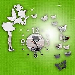 LtrottedJ Modern Style Butterfly Fairy DIY Mirror Wall Clock Wall Sticker Home Decor