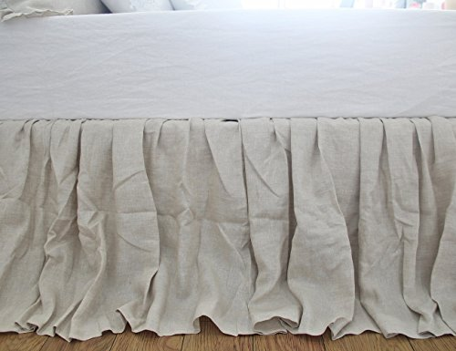 Queen's House Natural Linen Dust Ruffle Bed Skirts Split Corner Bedskirts-Cal King,18'' Drop 18' Cal King Bed Ruffle