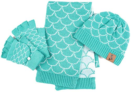 Fin Fun Mermaid Scales Hat, Gloves, Scarf Set - Small, Ages 6 and Below