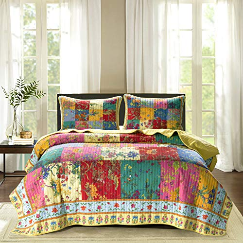 100% Cotton Patchwork Quilt Set King Size Vintage Floral Plaid Bedding Luxury Flower Quilt Lightweight Reversible Yellow Red Pink Bedspread Coverlets All Season Bed Set,1Quilt 2 Pillow Shams