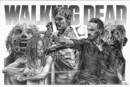 Walking Dead Original Sketch Prints – Poster Size – Black  White – Features Rick Grimes, Michonne, Daryl,  Zombies. Print of Highly-Detailed, Handma…