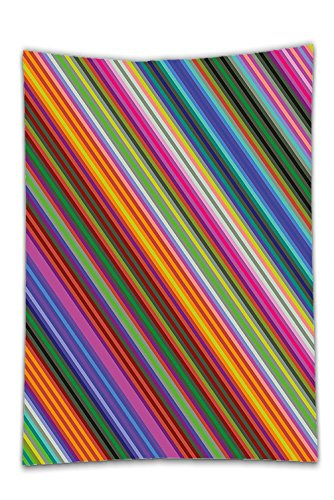 Interestlee Satin drill Tablecloth?Colorful Vibrant Toned Narrow Diagonal Lines Pinstriped Angular Pattern Digital Style Print Multicolor Dining Room Kitchen Rectangular Table Cover Home Decor