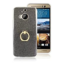 Soft Flexible TPU Back Cover Case Shockproof Protective Shell with Bling Glitter Sparkles and Kickstand for HTC M9 Plus ( Color : Black )