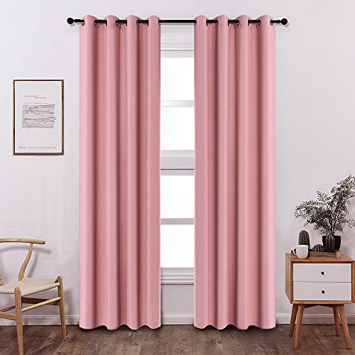 Colokey Shade Insulation Curtain Bedroom Living Room Balcony Curtain,Peach Pink,52x95-inch,1 Panel