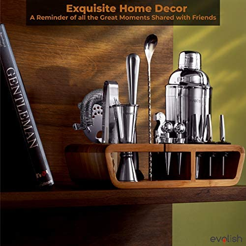 Bar Set Cocktail Shaker Set for Home: 25 Piece Mixology Bartender Kit With Stand | Ideal Gift Bartending Set for an Amazing Drink Mixing Experience | Bar tool set with Recipes & Coasters by Evolish 51SkDc2 2BGIL