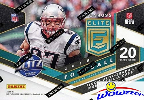 2018 Panini Donruss Elite Football Factory Sealed Retail Box with AUTOGRAH or MEMORABILIA Card & (7) EXCLUSIVE GREEN PARALLELS! Look for RC & Autos of Baker Mayfield, Saquon Barkley & More WOWZZER! (Elite Basketball Card Box)
