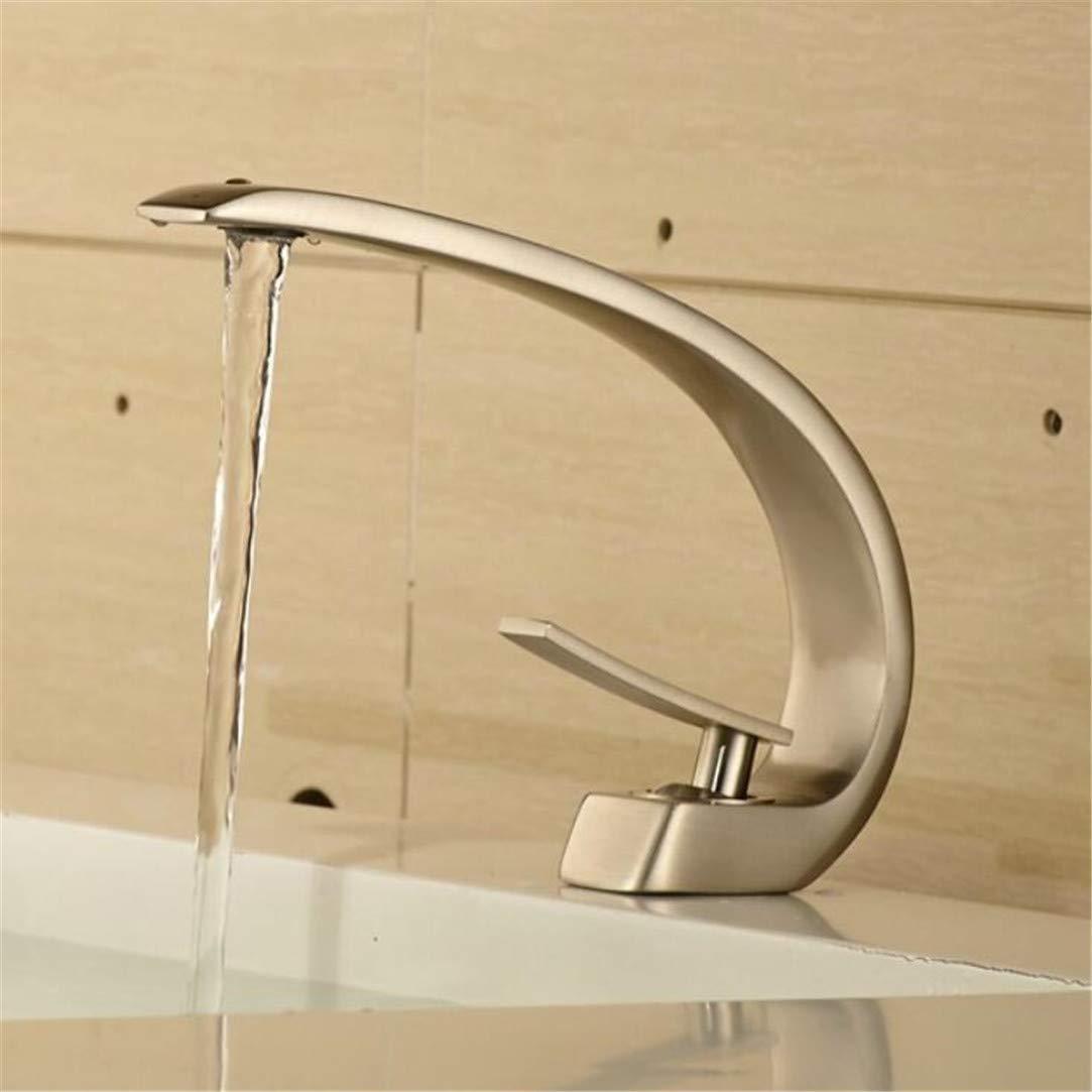 Wasserhahn Waschtischmischer Einzelhalterung Einlochmontage Wasserhahn Bad Waschbecken Wasserhahn Nickel Gebürstet Waschbecken Mischbatterie