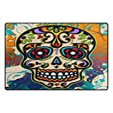 Cheap WOZO Mexico Dia De Los Muertos Sugar Skull Area Rug Rugs Non-Slip Floor Mat Doormats Living Room Bedroom 31 x 20 inches