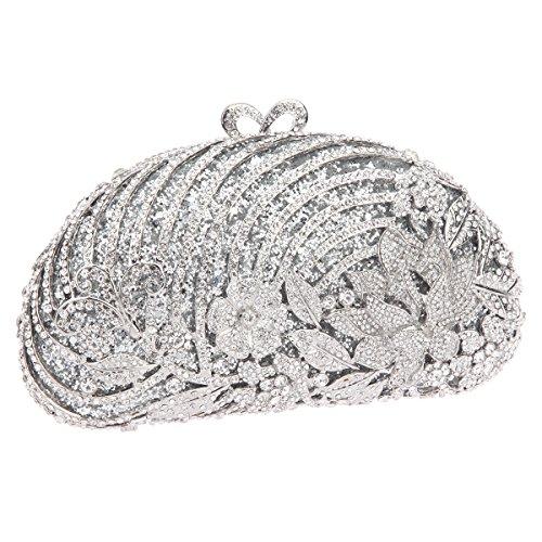 Studded Clutch For Girls Glitter Handbags Bonjanvye Floral Bags Evening Silver qpOnP