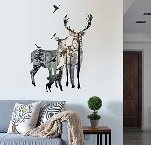 - BIBITIME Forest Silhouette Deer Wall Decal Animal Birds Elk Vinyl Stickers for Living Room Porch Bedroom Kids Room Decor Nursery Classroom Home Art Mural TV Background PVC Decorations