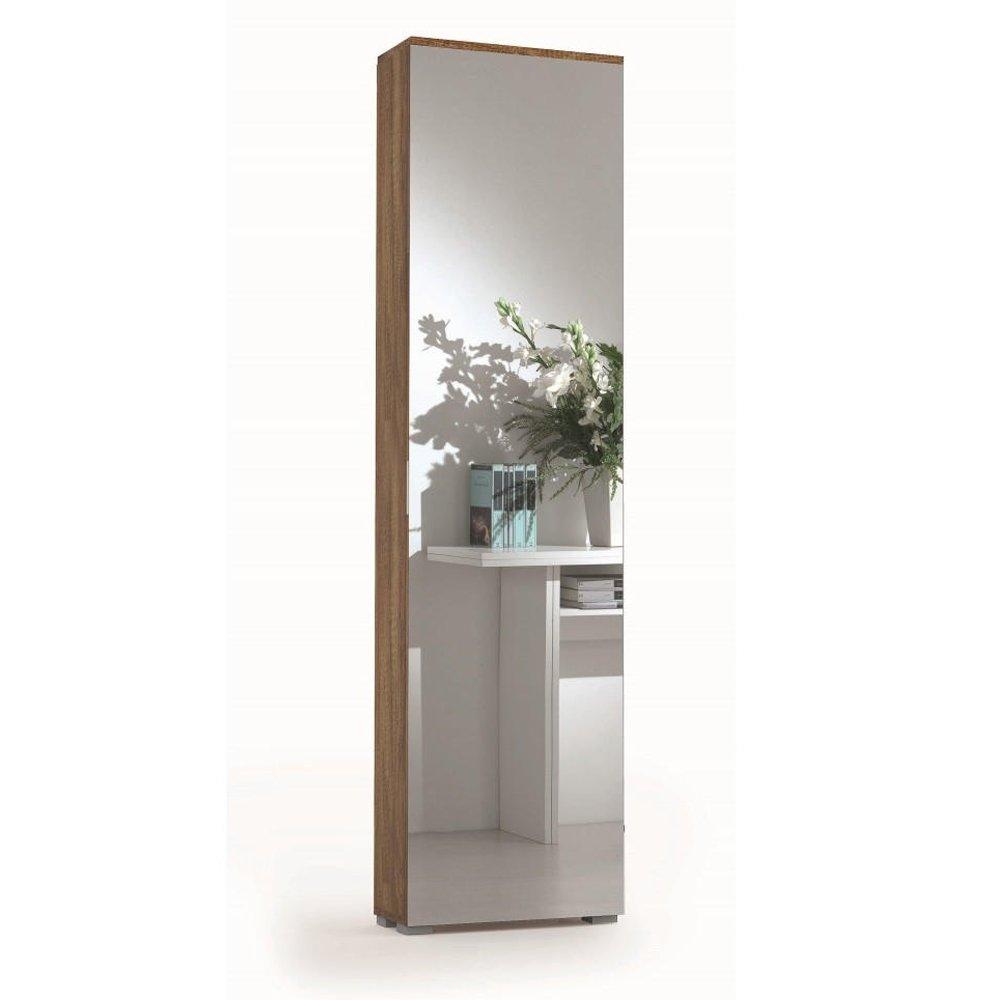 Distrimobel Saetabis Miguel A2 Scarpiera con Specchio, 50X18X178 H cm, Rovere, Melamina F01022001002