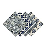Elrene Home Fashions 21196IND Everyday Casual Prints Assorted Fabric Napkins (Set of 24), Indigo