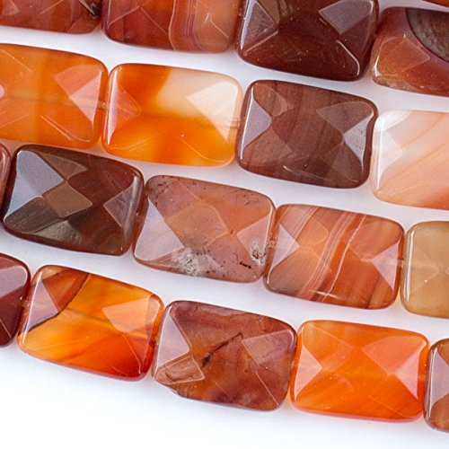 - Cherry Blossom Beads Carnelian Beads 10x14mm Faceted Rectangle - 8 Inch Strand