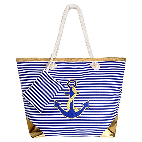 Beach Bag, Comius Canvas Travel Tote Bag, Oversized Shopping Shoulder Bag, Rope Handle Handbag with Zip for Ladies and Girls F