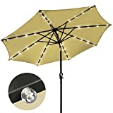 Outdoor Tilting Patio Umbrella 9' Tan with 32 LED Lights by AV Prime Inc.
