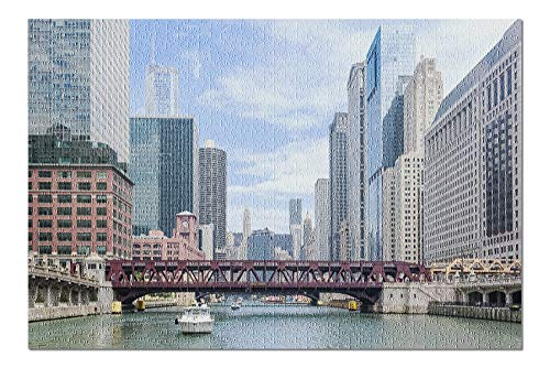 Chicago River Boat Tour Scene Photography A-90296 (20x30 Premium 1000 Piece Jigsaw Puzzle, Made in USA!) (Best River Boat Cruise In Chicago)