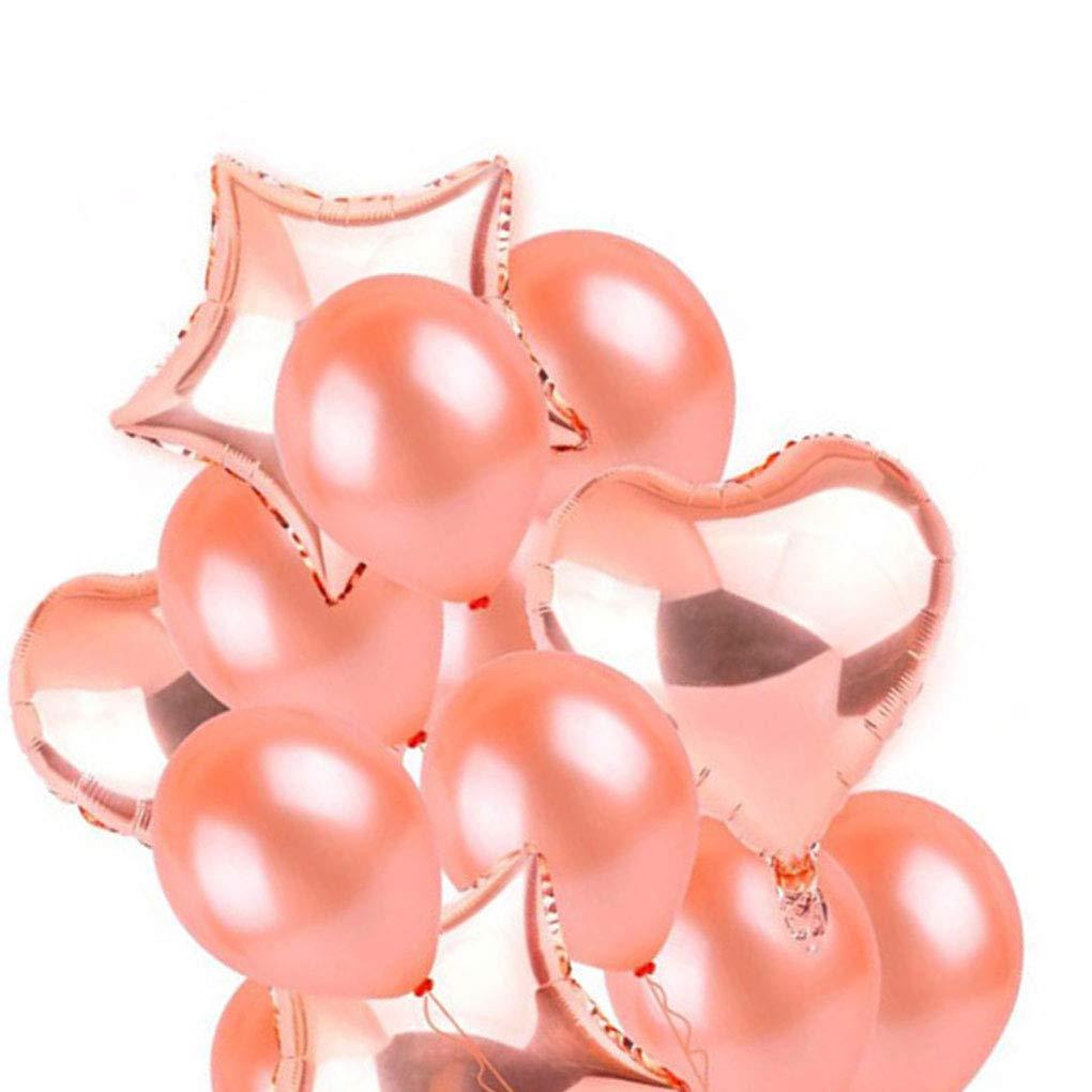 Mariage mi-air h/élium Latex Ballon Joyeux Anniversaire Enfants Baby Shower Lorsoul 14pcs Rose Gold Star Coeur Foil Ballons D/écoration