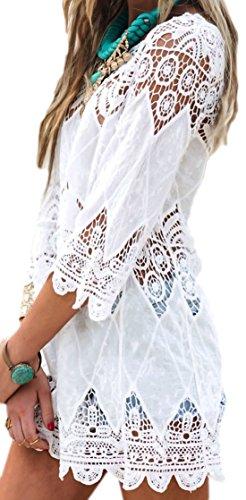 erdbeerloft - Damen Tunika Bluse Kaftan Spitze, One Size, Weiß