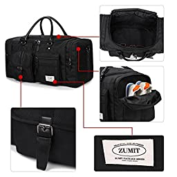 ZUMIT 45L Travel Duffel Bag Mens Womens Large Foldabling Luggage Water-resistant Super Lightweight Shoulder Suitcase Hodall Tote Handbag Brief Case Black #806-S