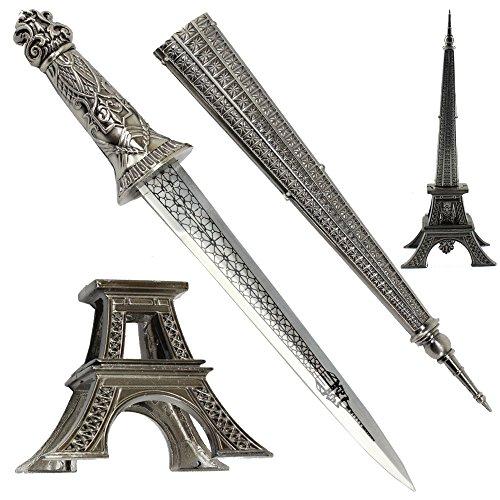 """MysticalBlades 15.5"""" Europe France Paris Metallic Eiffel Tower Dagger Knife Sword Letter Opener Desk Room Model"""