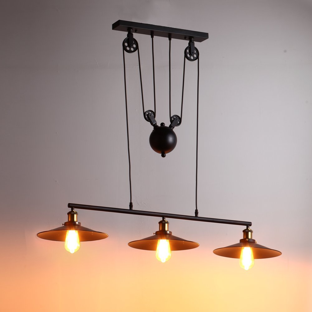 Vintage 3 Lights Rise and Fall Pendant Light Industrial Chandelier Ceiling Light Black Kitchen Island Hanging Lamp Shenzhenshi fanmu shangpin jiaju youxiangongsi