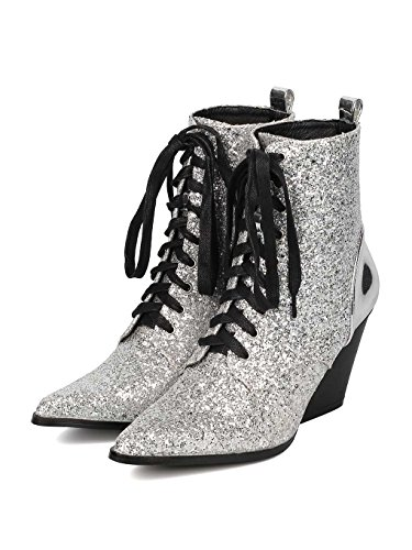 Heel Pointy Up Bootie Toe Block Silver HJ62 Women Encrusted Media CAPE ROBBIN Mix Lace Glitter xq1npxU