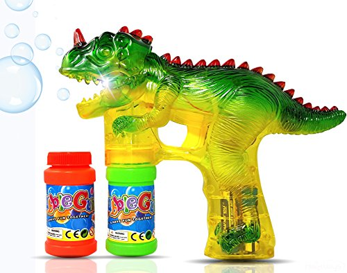 Haktoys Jurassic Dinosaur Bubble Gun Shooter Light Up Blower | Toy Bubble Blaster for Toddlers, Kids, Parties | LED Flashing Lights, Extra Refill Bottle, Sound-Free (Complimentary Batteries Included)