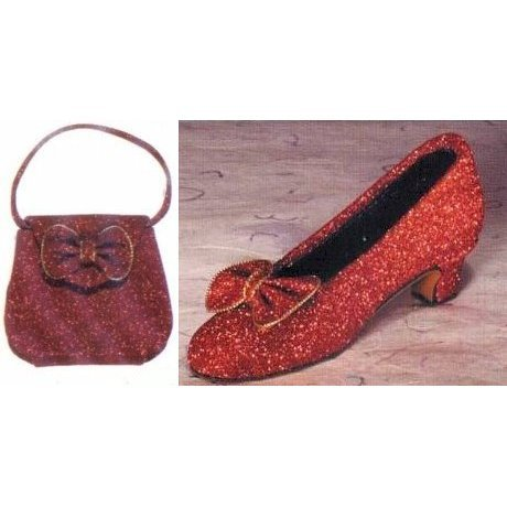 Fete Miniature Shoe - Fete Miniature Shoe And Purse Set - Ruby Slipper Set