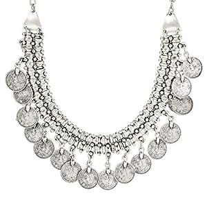 JanAyah Women's Silver Plated Antique Bohemian Serene Choker & Bib Necklace