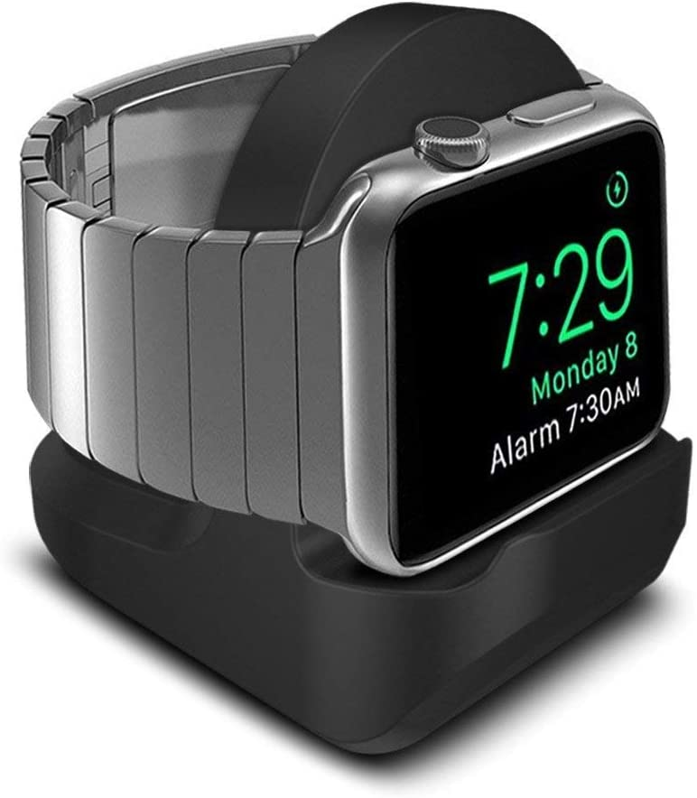 POKANIC Designed Compatible with Apple Watch Series SE / 6/5 / 4/3 / 2/1 / 44mm / 42mm / 40mm / 38mm Stand with Night Stand Mode, Integrated Cable Management Slot Stand Holder Mount (Black)