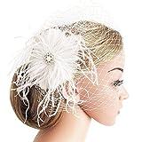 Mwfus White Mesh Veil Feather Fascinator Hair Clip Bridal Wedding Fascinator Headwear Headpiece
