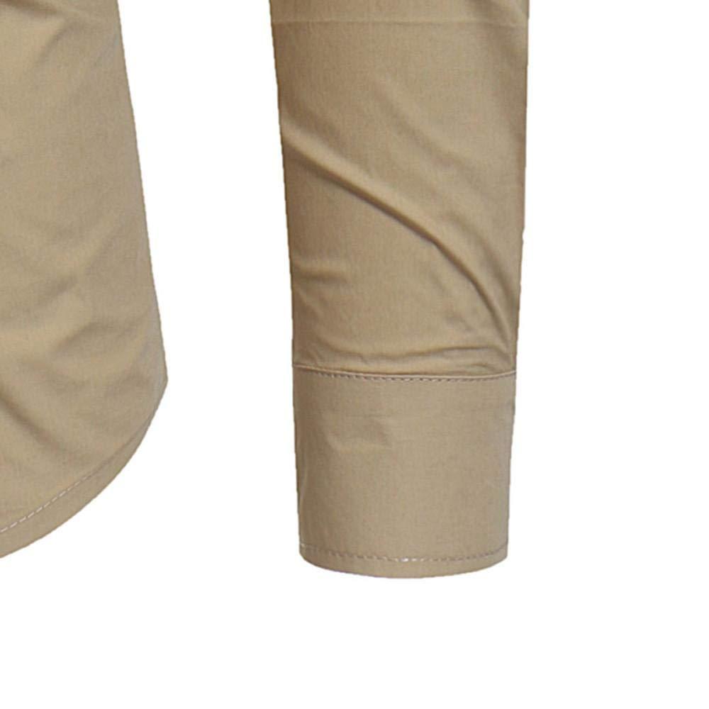 Herren-Hemd Herren Herbst Winter Casual geb/ürstetem Balopette Langarm-Button-Shirt Top Bluse 637
