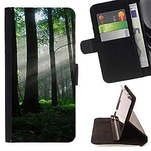 For Apple iPhone SE / iPhone 5 / iPhone 5S Case , Naturaleza Hermosa Forrest Verde 80- la tarjeta de Crédito Slots PU Funda de cuero Monedero caso cubierta de piel