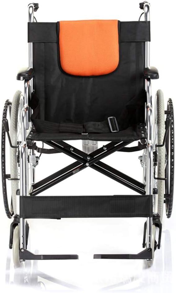 軽量アルミ製 折りたたみ車椅子 折りたたみ式手動車椅子無料インフレータブル車椅子アルミ合金車椅子 旅行用 外出用 (Color : Black, Size : ONE SIZE)