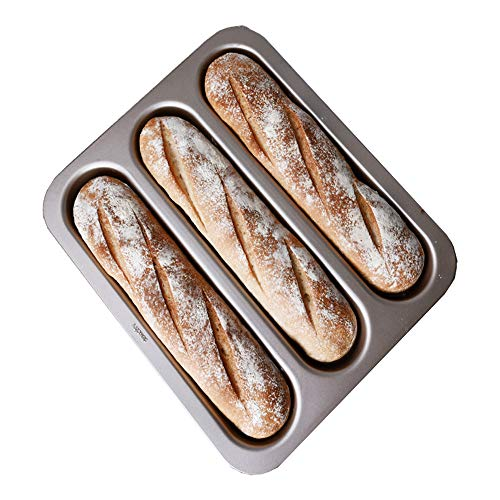 "LUFEIYA Perforated Baguette Pan 3 Loaf French Bread Tray for Baking 15"" x 13"" Wave Loaves Bake Mold Toaster Oven Safe"