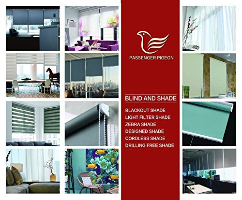 20 W x 36 L PASSENGER PIGEON Blackout Window Shades Black in White Patterned Premium Thermal Insulated UV Protection Custom Window Roller Blinds