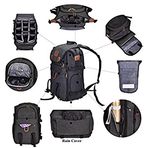 """Camera Backpack,DIGIANT 21"""" x 7.8"""" x 13.5"""" DSLR Backpack, Large Canvas Camera Bag with Rain Cover for Cameras/Lenses/Laptop/Tablet & Photography Accessories"""