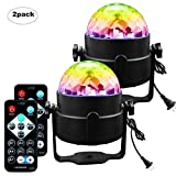 Disco Ball Party Lights 3W Strobe Stage Light 7 Colors Sound Activated Party Light with Remote Control for Christmas Holiday Party DJ / Bar /Club /Karaoke (2 Pack)