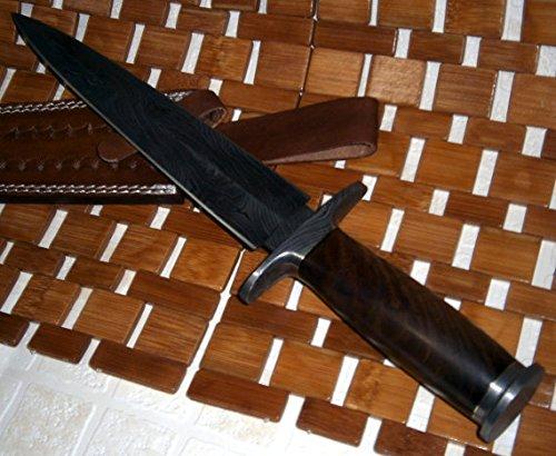 Damascus Steel Dagger Knife Walnut Wood Handle Handmade